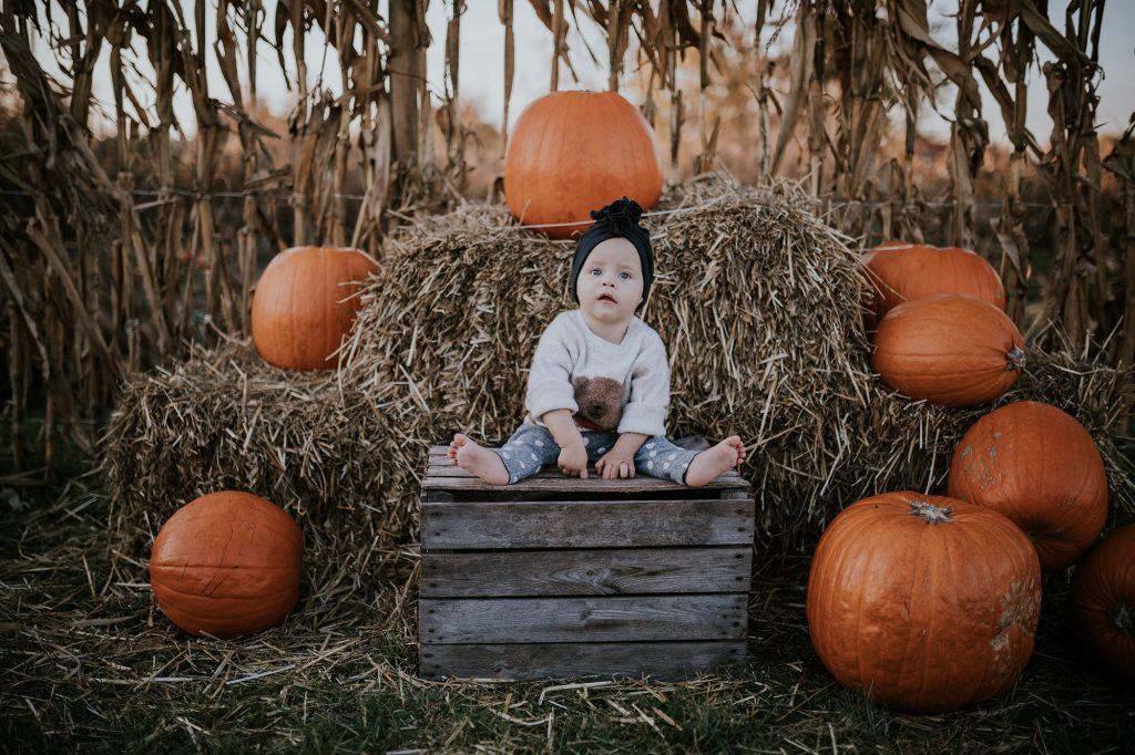 jesienna sesja niemowlęca farma dyń powsinie powsin dynie