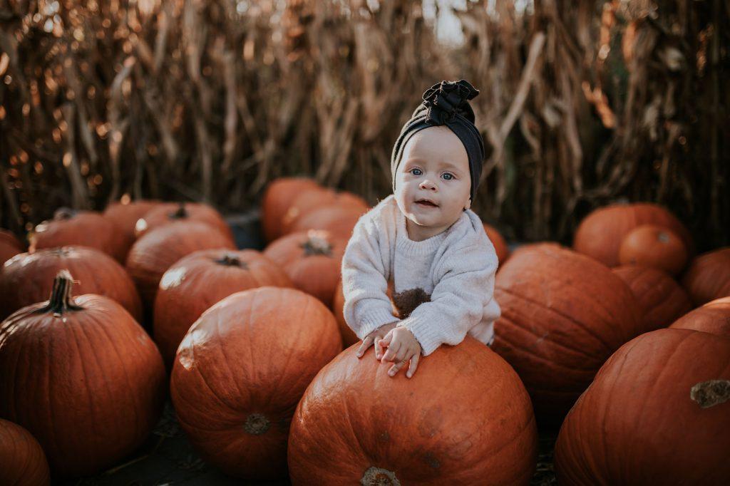 jesienna sesja niemowlęca farmą dyń powsinie powsin dynie